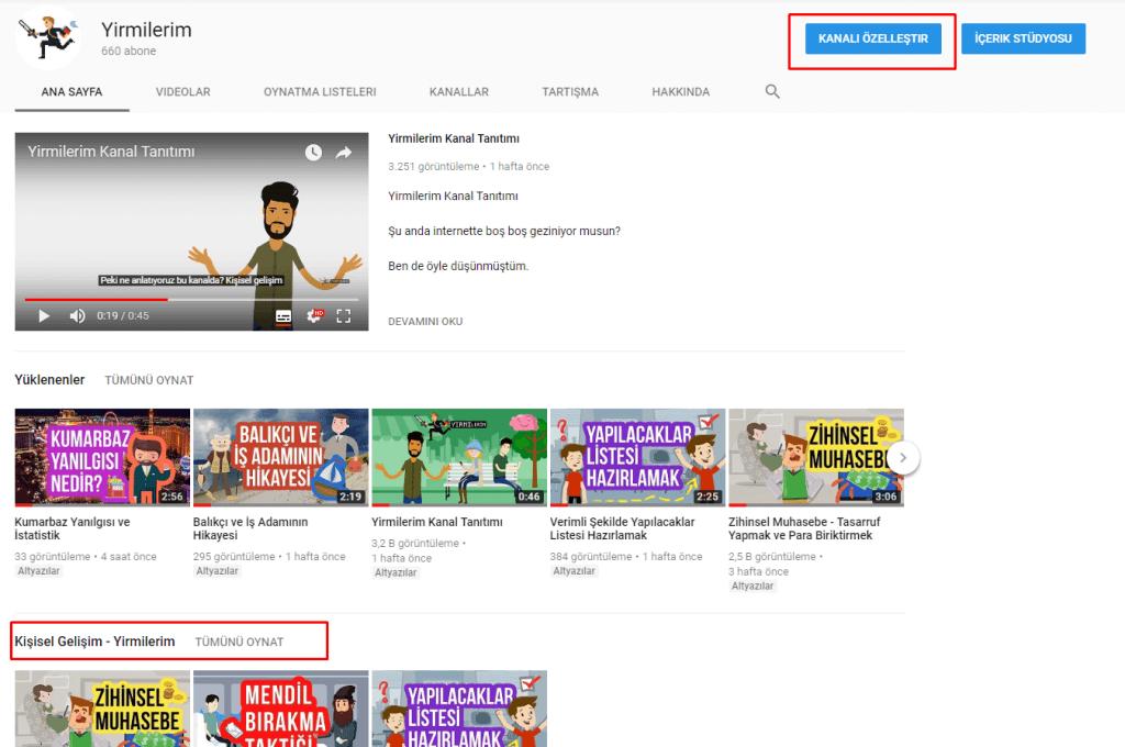 youtube kanalı özelleştir